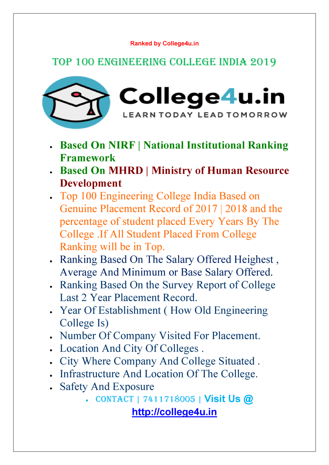 Top 100 Engineering College India | MHRD | NIRF Ranking 2019
